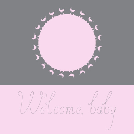 welcome people: Greeting card with pink colored round space for photo decorated with pink colored prams on grey background and grey colored calligraphic lettering Welcome baby isolated on pink background Illustration