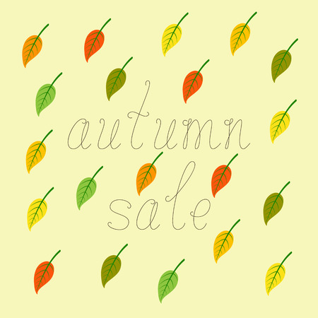 flaxen: Brown colored calligraphic lettering autumn sale and colorful leaves with green veins isolated on flaxen background