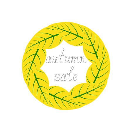 it is isolated: Yellow leaves with green veins situated in the shape of a circle and black colored calligraphic inspirational lettering autumn sale inside it isolated on white background. Design element Illustration