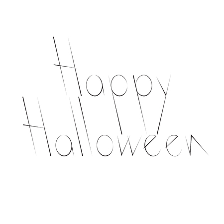 31th: Black colored stylized Happy Halloween lettering isolated on white background. Greeting card design element. Flat style vector illustration Illustration