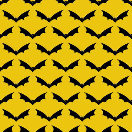 frightful: Seamless pattern with frightful black colored flying bats with evil yellow colored eyes and sharp ears isolated on yellow background. For holiday decoration, wrapping paper, wallpaper, gift boxes, packing elements