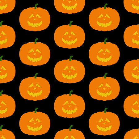 frightful: Seamless pattern with frightful orange colored Halloween pumpkin with evil face isolated on dark black background. For holiday decoration, wrapping paper, wallpaper, gift boxes, other packing elements Illustration