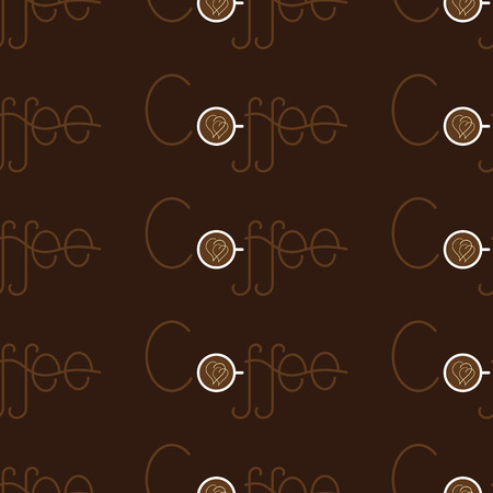 creamy: Seamless pattern with repeating brown colored lettering coffee and letter o in the shape of white colored cup of coffee with two creamy hearts on surface of beverage isolated on dark brown background