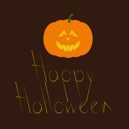 frightful: Greeting card with creepy orange colored Halloween pumpkin with evil face and lettering Happy Halloween isolated on dark brown background