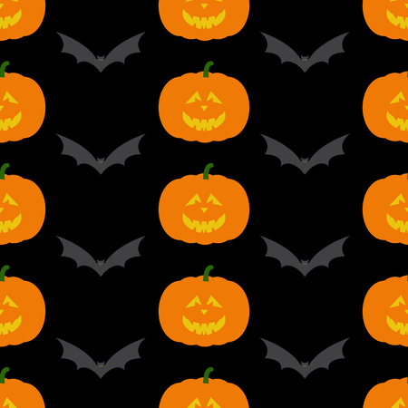 Seamless pattern with repeating frightful orange Halloween pumpkin with evil face and grey flying bat isolated on dark black background. For holiday decoration, wrapping paper, wallpaper, gift boxes, other packing elements