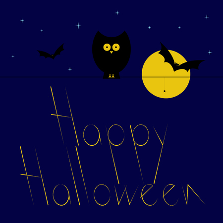 frightful: Greeting card with dark blue starry sky, big yellow moon, black owl sitting on wire and spider hanging on it, flying bats and stylized yellow colored lettering Happy Halloween