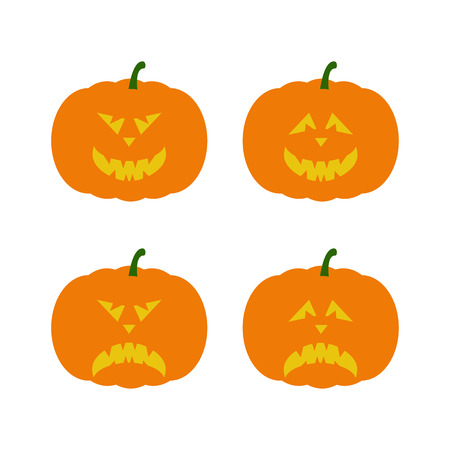 frightful: Set of creepy Halloween pumpkins with evil faces isolated on white background.