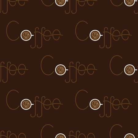 cremoso: Seamless pattern with repeating brown colored lettering coffee and letter o in the shape of white colored cup of coffee with two creamy hearts on surface of beverage arranged in staggered rows isolated on dark brown background