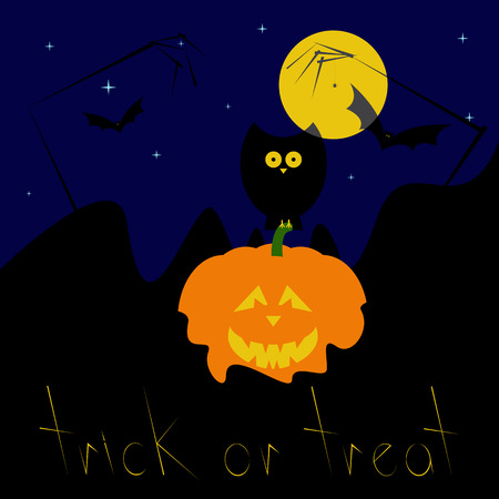 31th: Greeting card with dark blue starry sky, big yellow moon, black owl sitting on pumpkin with creepy face placed in lava, zombie hands and spider hanging on it, flying bats and stylized yellow colored lettering trick or treat