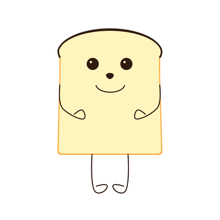 kiddy: Funny piece of bread character isolated on white bakground Illustration