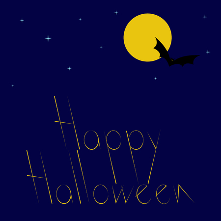 31th: Greeting card with dark blue starry sky, big yellow moon, flying bat with big yellow eyes and stylized yellow colored lettering Happy Halloween