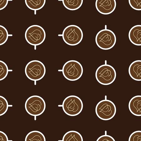 servilleta de papel: Patr�n sin fisuras con la repetici�n de tazas de color blanco de caf� con dos corazones de crema en la superficie de la bebida hace girar en sentido horario y aislado en el fondo de color marr�n oscuro. Papel pintado, papel de regalo, tela o plantilla servilleta