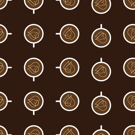 clockwise: Seamless pattern with repeating white colored cups of coffee with two cream hearts on surface of beverage rotated clockwise and isolated on dark brown background. Wallpaper, wrapping paper, fabric or serviette template