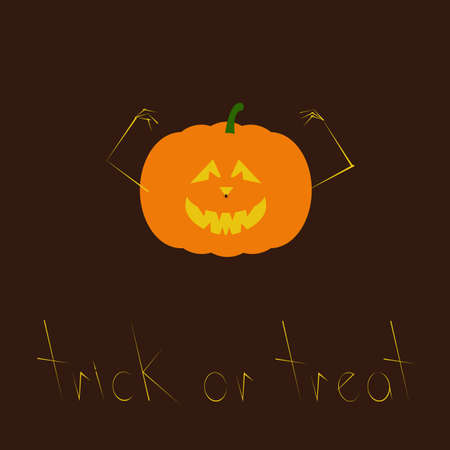 frightful: Greeting card with creepy orange colored Halloween pumpkin with evil face, frightful hands and spider hanging on nose and lettering Trick or treat under it isolated on dark brown background