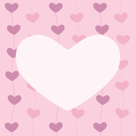 pink hearts: Greeting card with hearts beaded on line and isolated on pink background and space for text in the shape of heart in the centre invitation Illustration