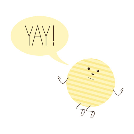 hooray: Cute jumping chips character with speech bubble with lettering yay with exclamation mark isolated on white background Illustration