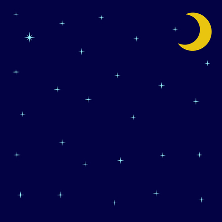 unexplored: Background with night sky with shining stars and moon Illustration