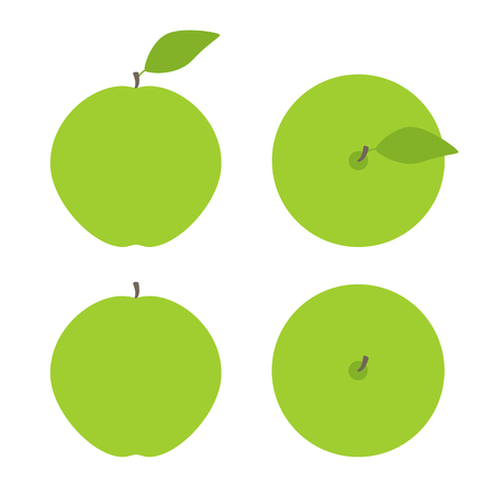 view template: Set of green apples with brown springs and green leaves isolated on white background. Side view and top view.   template, design element, vegetarian menu decoration. Flat style illustration