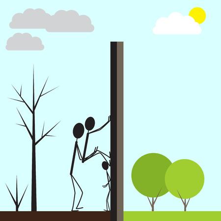 madre tierra: Familia de refugiados intenta cruzar la frontera ilegalmente. Tres figuras estilizadas que suben sobre muro alto. Quemado paisaje por un lado y verde por el otro. Concepto de la guerra y la paz Vectores
