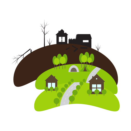 offence: Burned landscape with exploded house and barn, green landscapes with forests, camping, roads and cottages. Concept of war and peace