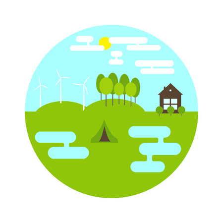 ponds: Flat style landscape in the shape of circle. Two ponds, small camping on green meadow, three electric windmills and forest on hills, brown cottage with bushes in front of it, blue sky with white clouds and yellow sun