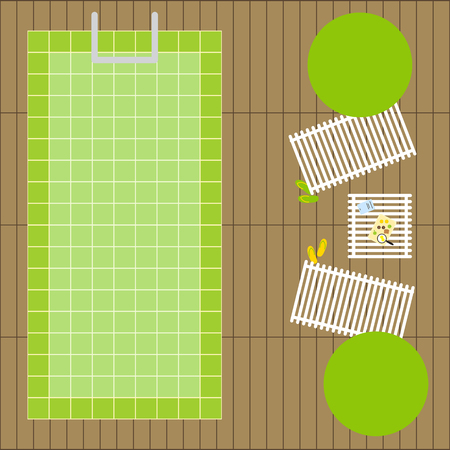 tile flooring: Top view of two deck chairs and two decorative round trees, one table with breakfast on tray and magazine, two pair of slippers, swimming pool of green tile and wooden flooring. Flat style illustration Illustration