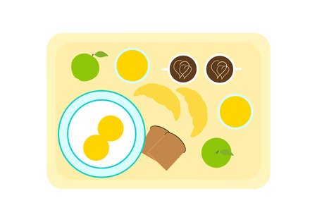 celadon blue: Breakfast for two on tray top view. Fried eggs on plate, glasses with orange juice, caps with coffee, apples, croissants and slices of bread on tray. Flat style illustration