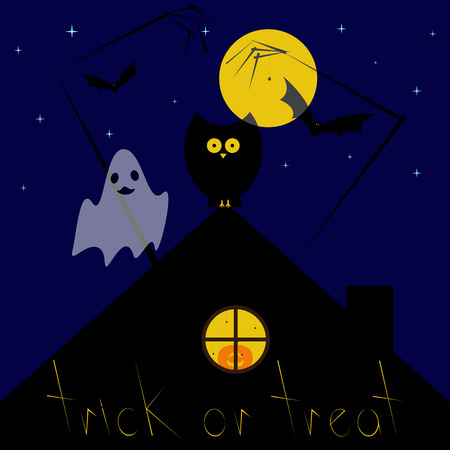 flying bats: Greeting card with dark blue starry sky, big yellow moon, black owl sitting on roof, pumpkin with creepy face in round window with spiders, zombie hands, spider hanging on it, flying bats, yellow lettering trick or treat Illustration