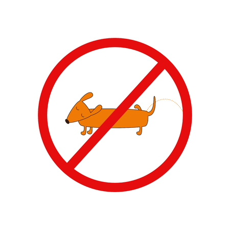 pissing: Prohibition sign with cute cartoon brown contoured foxy colored pissing dachshund with closed eyes, brown nose, one leg up and curled tail on white background. Design element. Flat style illustration Illustration