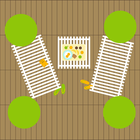 celadon green: Top view of two deckchairs, book on one of it, four decorative round trees, one table with breakfast for two on tray, two pairs of slippers and wooden flooring. Flat style illustration