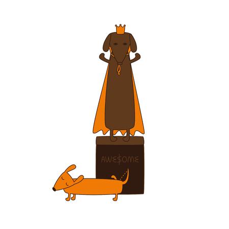 rey caricatura: Monumento del rey perro en la corona y el manto y lindo marr�n de la historieta contorneada color astuto meando dachshund con los ojos cerrados, la nariz marr�n, una pierna hacia arriba y encrespado cola aislado en el fondo blanco Vectores