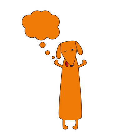 hind: Cute orange colored brown contoured dachshund standing on hind legs with dissolved forelegs and empty dream bubble near it. Vector flat style illustration Illustration