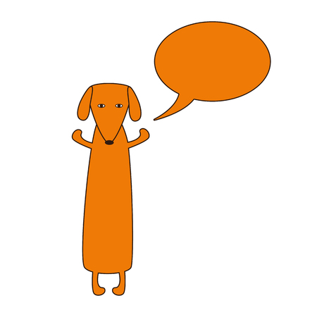 hind: Cute orange colored brown contoured dachshund standing on hind legs with dissolved forelegs and empty speech bubble near it. Vector flat style illustration