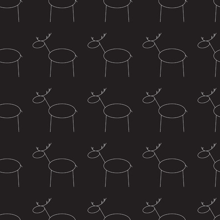contoured: Seamless pattern with repeating white contoured reindeer