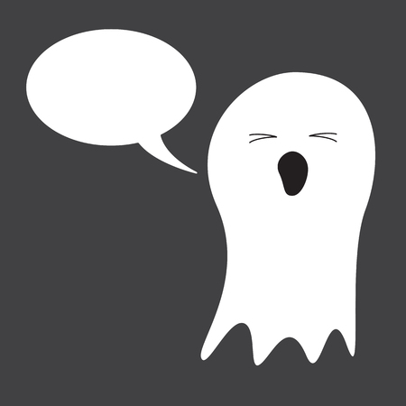 closed mouth: Cute white ghost with closed eyes and opened mouth and speech bubble