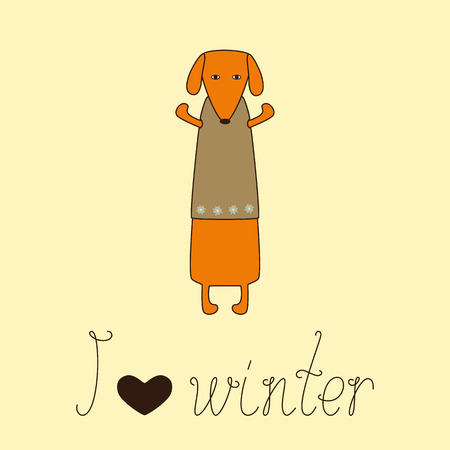 dissolved: Cute orange colored brown contoured dachshund standing on hind legs with dissolved forelegs in beige waistcoat decorated with snowflakes and calligraphic lettering I love winter with heart isolated on white background