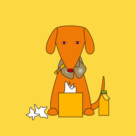 red eyes: Cute dog with red eyes and nose, thermometer in mouth, beige scarf decorated with snowflakes, box with paper handkerchiefs, used papers and medicine bottle with label in front of it on orange background
