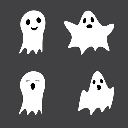 ghost character: Set of cute ghosts isolated on grey background Illustration