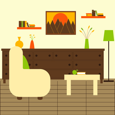 chest wall: Living room interior with chair, floor lamp, coffee table with apple and book, chest of drawers  with vases and flowers on it, two bookshelves with books, framed painting with mountains at sunset on the wall and wooden floor. Flat style illustration