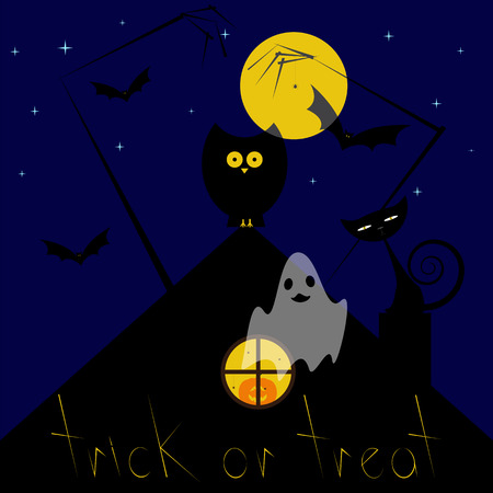 yellow roof: Greeting card with dark blue starry sky, big yellow moon, black owl sitting on roof, pumpkin with creepy face in round window with spiders, zombie hands, spider hanging on it, flying bats, cat sitting on chimney, yellow lettering trick or treat