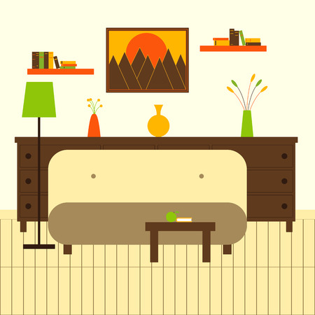 chest wall: Living room interior with sofa, floor lamp, coffee table with apple and book, chest of drawers  with vases and flowers on it, two bookshelves with books, framed painting with mountains at sunset on the wall and wooden floor. Flat style illustration Illustration