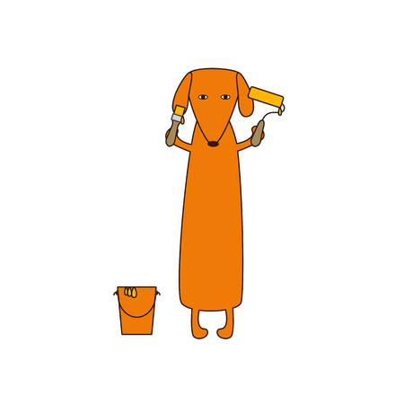 dissolved: Cute orange colored brown contoured dachshund standing on hind legs with dissolved forelegs, holding paint brush and roller, paint bucket near it. Flat style illustration