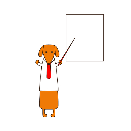 red  pointer: Cute orange colored brown contoured dachshund in white shirt and red tie standing on hind legs with dissolved forelegs, holding red pointer, white board behind him. Flat style illustration