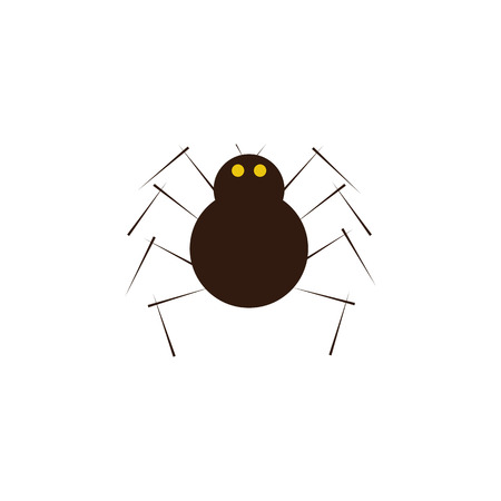 frightful: Cute cartoon brown colored spider with yellow eyes, eightlegs, pair of antennas isolated on white background