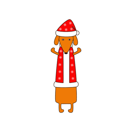 dissolved: Cute orange colored brown contoured dachshund standing on hind legs with dissolved forelegs in Christmas suit, red coat and hat decorated with snowflakes. Flat style illustration Illustration