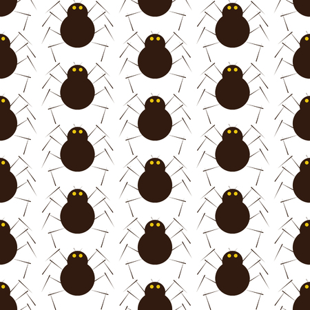 eight legs: Seamless pattern with cute brown colored spider with yellow eyes, eight legs, pair of antennas isolated on white background