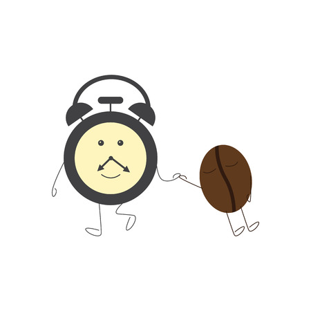 sleepiness: Funny alarm clock character dragging sleeping coffee bean. Concept of morning sleepiness. Flat style illustration on white background