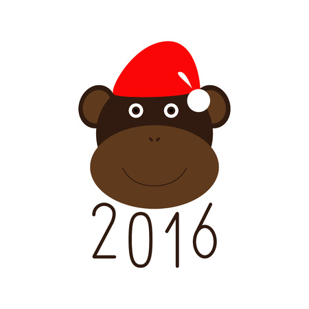 chinese new year element: Numbers 2016 and smiling monkey in Christmas hat. Chinese New Year greeting card. Party invitation. Flat style design element