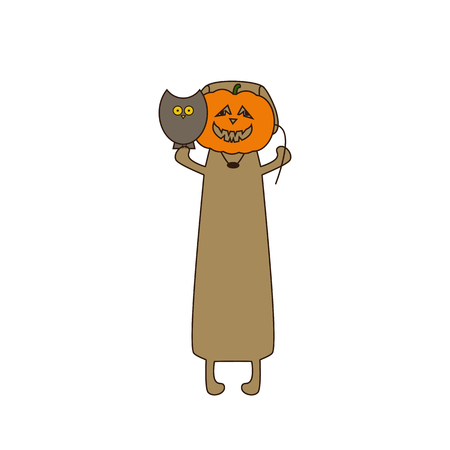 dissolved: Cute beige colored brown contoured dachshund standing on hind legs with dissolved forelegs, holding mask in the shape of pumpkin in one paw and owl sitting on his another paw. Flat style illustration