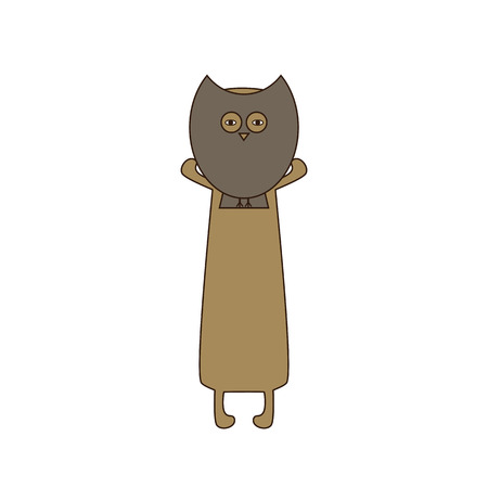 hind: Cute beige colored brown contoured dachshund standing on hind legs with dissolved forelegs, holding mask in the shape of owl in his paws. Flat style illustration Illustration